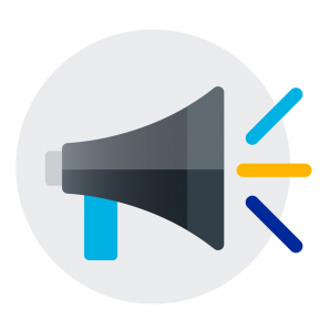 Loudspeaker icon symbolizing announcement of a partnership or sponsorship