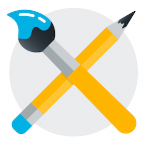 Image of paintbrush and pencil