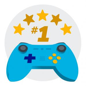 video game controller with five stars and #1